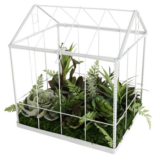 "10"" Artificial Succulent Garden in Decorative Greenhouse - 32039247"