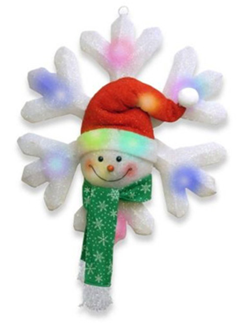 Battery Operated Lighted LED Snowman with Green Scarf Snowflake Christmas Decor - 11584443