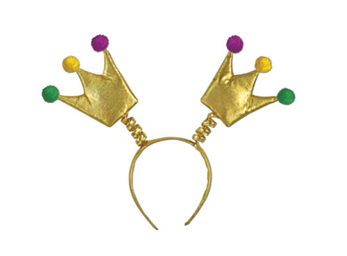 Club Pack of 12 Gold, Purple and Green Mardi Gras Crown Bopper Headband Party Favors - 31556992