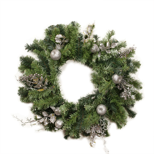 "24"" Pre-Decorated Silver Fruit, Holly Berry and Leaf Artificial Christmas Wreath - Unlit - 31313636"