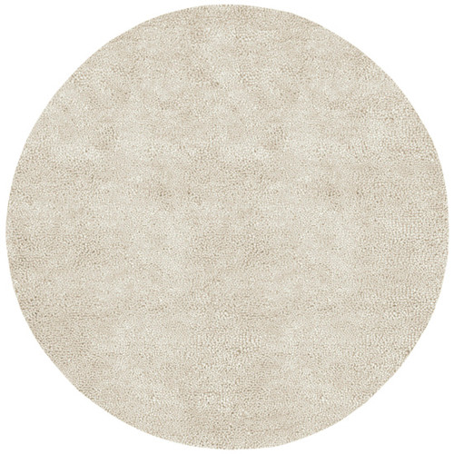 10' Solid Ivory Hand Woven Round New Zealand Wool Shag Area Throw Rug - 28462291