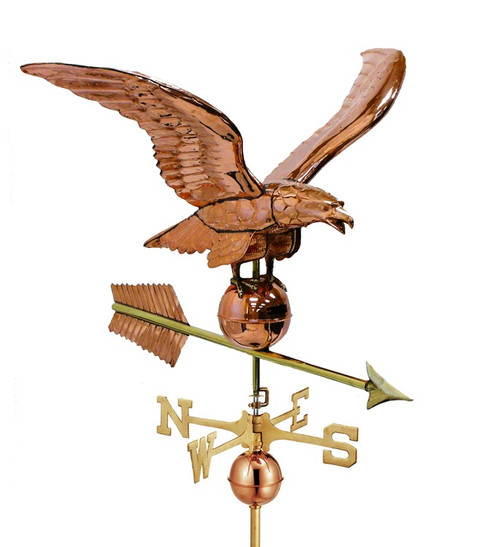 "34"" Smithsonian Collection Handcrafted Polished Copper Eagle Outdoor Estate Weathervane - 21330269"