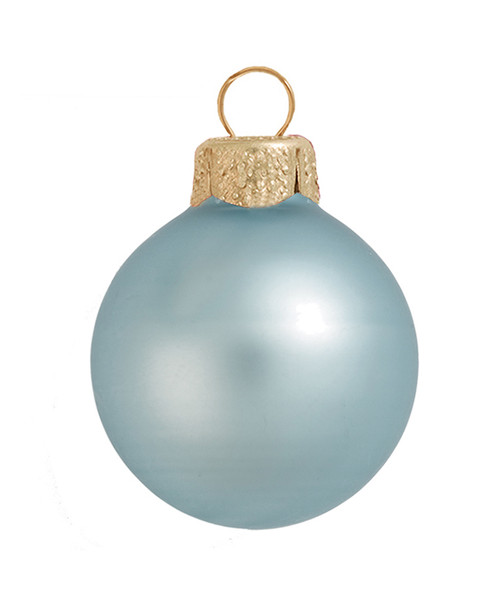 """2ct Matte Baby Blue Glass Ball Christmas Ornaments 6"""" (150mm) - 30940079"""
