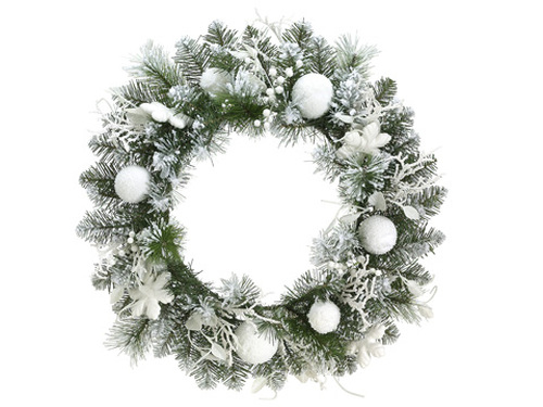"24"" Pre-Decorated Snowy Flocked Artificial Christmas Wreath - Unlit - 16179737"