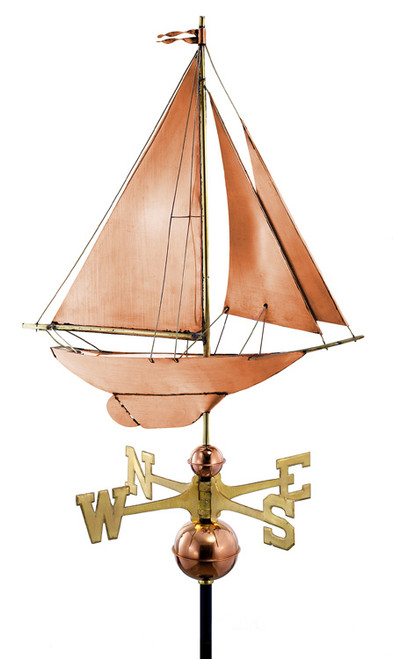 "27"" Luxury Polished Copper Nautical Racing Sloop Sailboat Weathervane - 9449799"