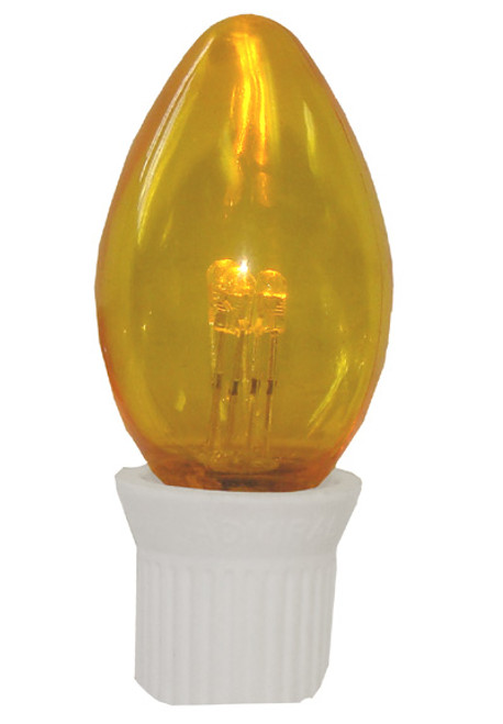 Pack 25 Commercial Transparent Yellow 3-LED C7 Replacement Christmas Light Bulbs - 10727854