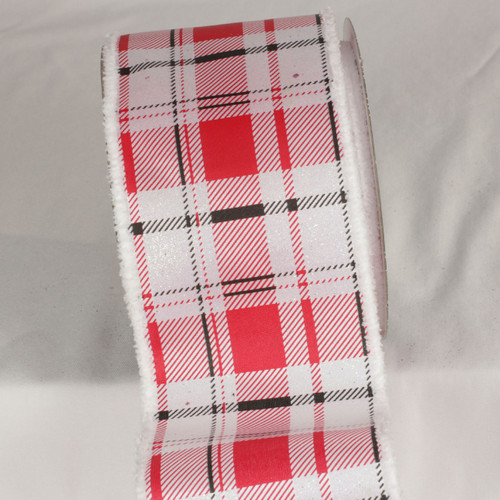 "Red, White and Black Santa Plaid Wired Craft Ribbon 4"" x 20 Yards - 31532388"