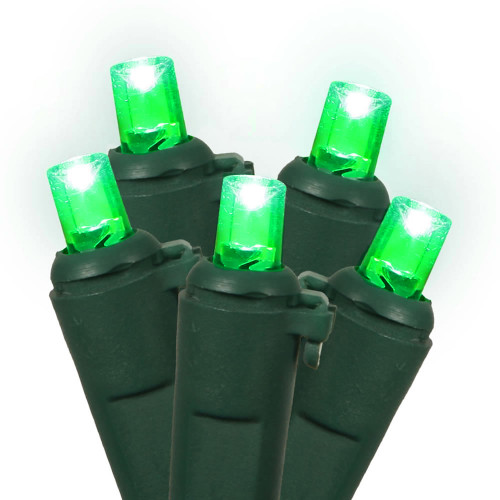 Set of 60 Green LED Wide Angle Christmas Lights - Green Wire - 25244422