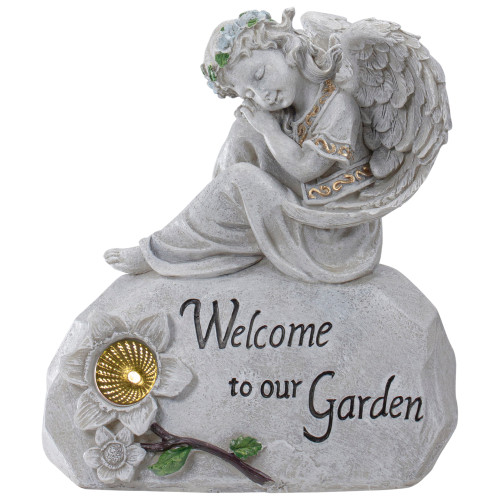 "10"" Religious Peaceful Angel ""Welcome To Our Garden"" Solar Powered Outdoor Patio Statue - 32019872"
