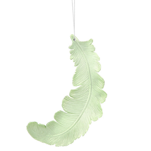 "6ct Matte Celadon Green Feather Shatterproof Christmas Ornaments 6"" - 31105558"