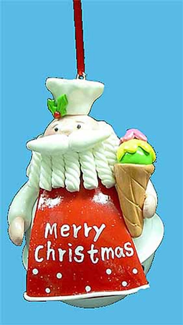"""4"""" Santa Claus Chef with Ice Cream Cone Jingle Bell Christmas Ornament - 30839319"""