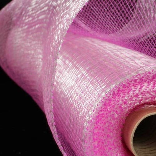 "Fuschia Pink and Silver Deco Mesh Craft Ribbon 21"" x 40 Yards - 31390994"