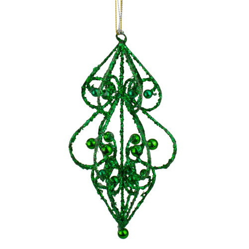 """Sugared Fruit Green Bead and Glitter Filigree Christmas Ornament 7"""" - 11239054"""