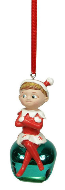"3"" Elf on the Shelf Sitting Girl Turquoise Blue Jingle Buddies Christmas Ornament - 31082855"