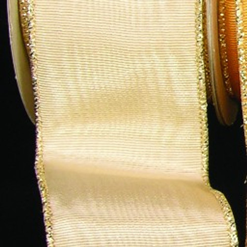 """Cream Symphony Moire with Gold Wired Edge Craft Ribbon 2"""" x 44 Yards - 31389143"""