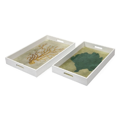 """Set of 2 Oceanus Sericum White Wood With Glass Inserts Decorative Serving Trays 20.5"""" - 31356499"""