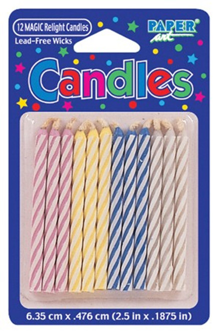 """Club Pack of 288 Eco-Friendly Multi-Colored and White Candy Stripe Spiral Decorative Birthday Party Candles 2.5"""" - 31382474"""