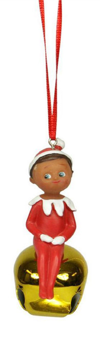 "3"" Elf on the Shelf Sitting Boy Gold Jingle Buddies Christmas Ornament - 31082851"