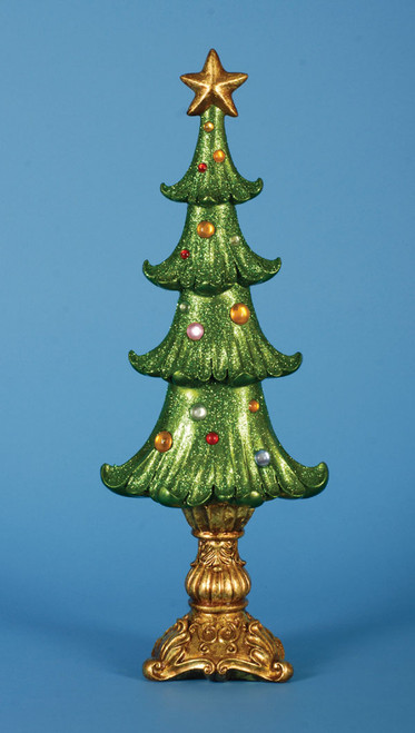 """Pack of 2 Ornate Shimmering Glittered Table Top Christmas Tree Decorations 20"""" - 17103507"""