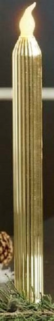 Set of 2 Merry Little Christmas LED Lighted Gold Glass Taper Candles - 9729099