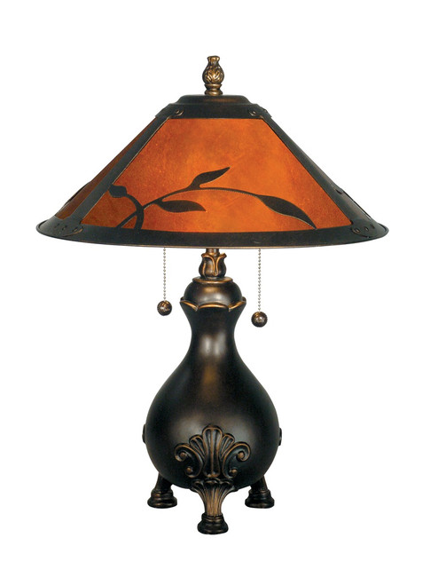 """22"""" Antique Golden Sand Warm Amber Mica Leafs Multi-Light Table Lamp - 31376630"""