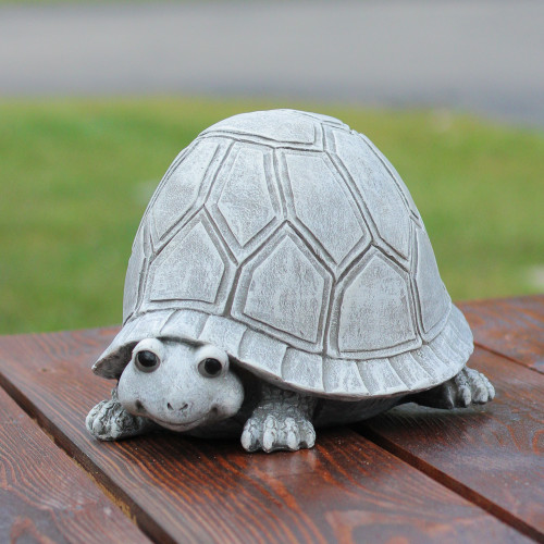 """10.5"""" Pudgy Pals Weather Finished Turtle Spring Outdoor Garden Statue - 31515000"""