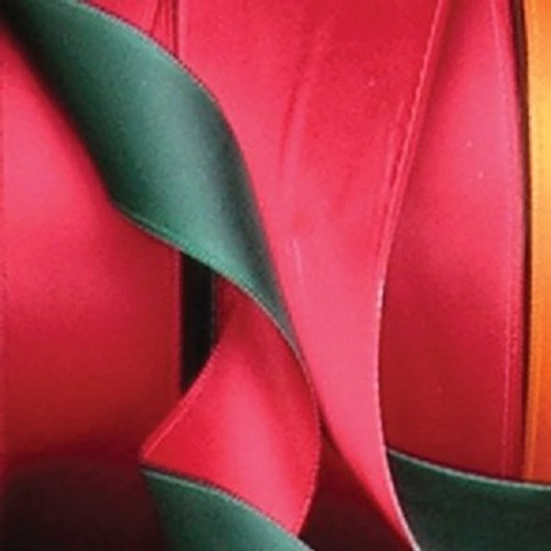 """Hunter Green & Fire Engine Red Two-Tone Double Face Satin Wired Polyester Ribbon 1.5"""" x 27 Yards - 31389490"""