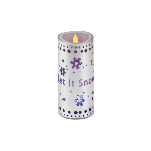 """7"""" Let it Snow Flickering Red Flame Battery Operated Flameless Candle - 16184333"""