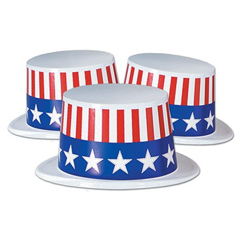 Club Pack of 25 White Patriotic Stars and Stripes Band Topper Hat Costume Accessories - 32146997