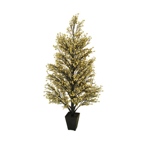 """44"""" Potted Gold & Black Glittered Berry Christmas Tree - 6071544"""