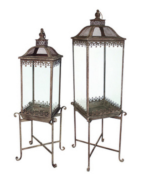 Set of 2 English Garden Elevated Iron and Glass Garden Lanterns on Stands - 30925501