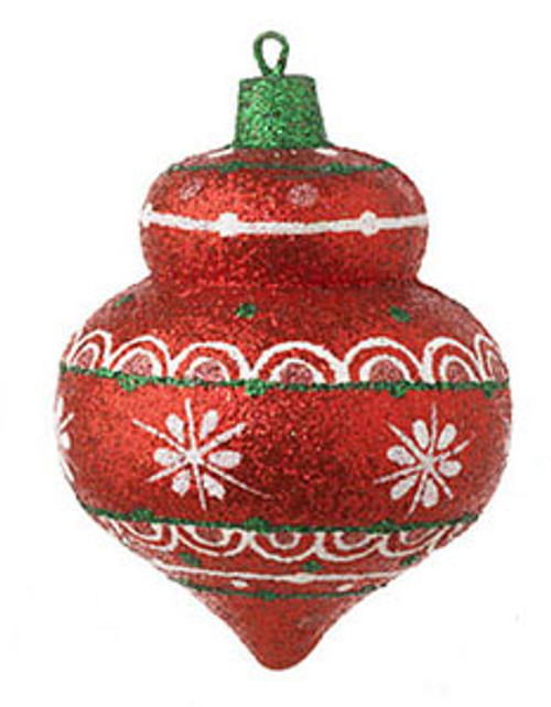 "4"" Christmas Brites Sparkling Glittered Red Onion Christmas Ornament - 16470786"