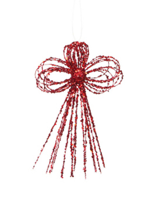 "Pack of 6 Mod Holiday Red Glittered Bow Christmas Ornaments 10"" - 32234190"