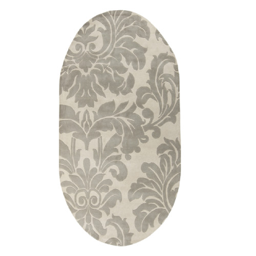 8' x 10' Falling Leaves Damask Gray and White Oval Wool Area Throw Rug - 30783917