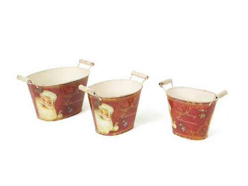 Set of 3 Retro Santa Claus Oval Vintage Style Decorative Buckets with Handles - 30656801