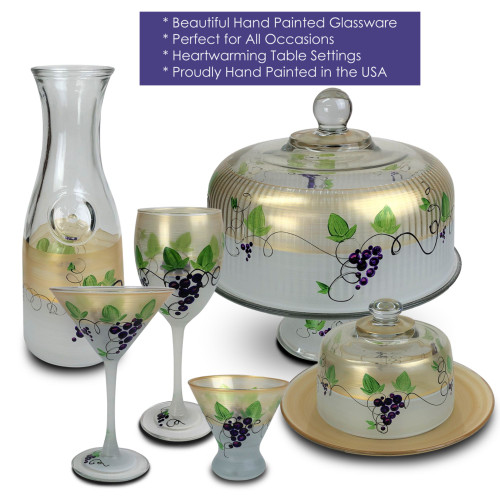 Grapes and Vines Hand Painted Frosted Glass Serving Carafe 34 Ounces - 31010917