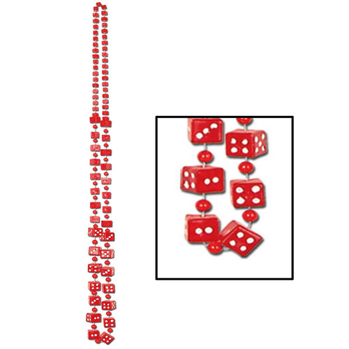"""Club Pack of 12 Red Dice Casino Themed Beaded Necklace Party Favors 48"""" - 31563434"""