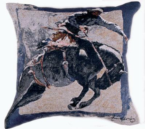 "17"" Western Rodeo Cowboy Decorative Tapestry Accent Throw Pillow - 32270245"