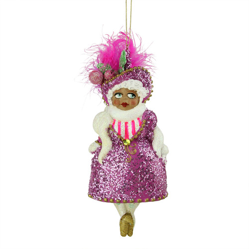 "7"" Ethnic Diva Lady In Purple Glittered Dress & Hat Christmas Ornament #W7572 - 6237813"
