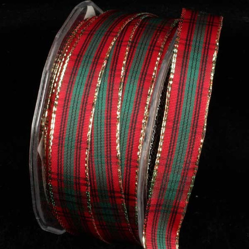 """Red, Black, and Green French Plaid Pattern Gold Wired Craft Ribbon 5/8"""" x 54 Yards - 31392104"""