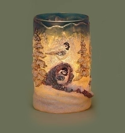 """6"""" Country Rustic Winter Forest Scene with Birds Textured Christmas Votive Candle Holder - 31420844"""