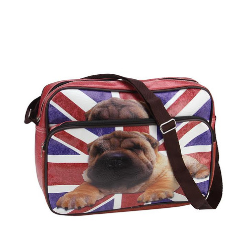 "15"" Decorative British Flag and Pug Crossbody Bag/Purse with Strap - 31519219"