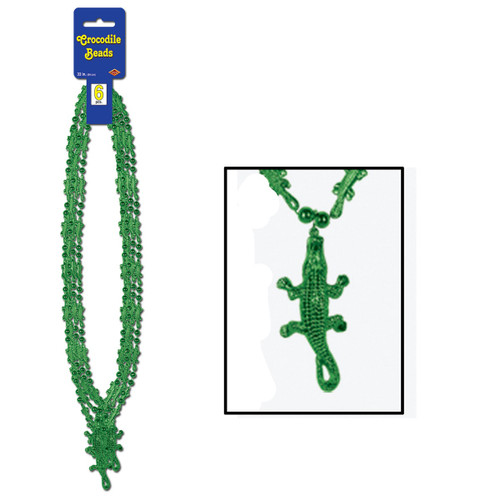 """Club Pack of 72 Australian Themed Green Crocodile Beaded Party Necklaces 33"""" - 31559406"""