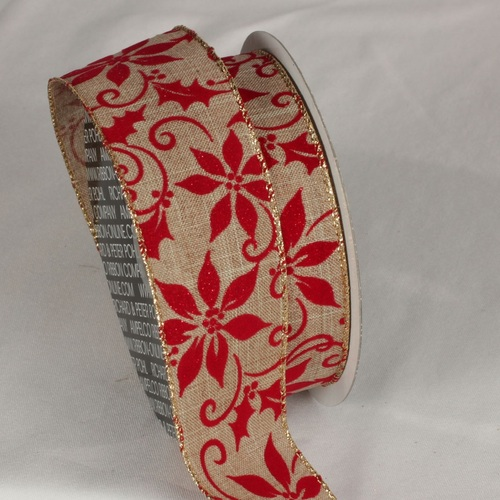 "Velveteen Natural Tan and Red Poinsettia Wired Craft Ribbon 2"" x 20 yards - 31532350"