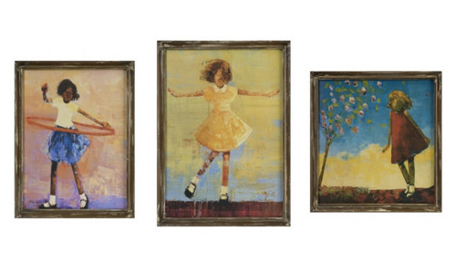 Set of 3 Charming Girl in Summer Dress Decorative Framed Wall Art Decor - 31090477