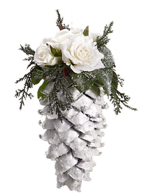"""9.5"""" Snow Drift Large Glittered Pine Cone with Roses Christmas Ornament - 30657248"""
