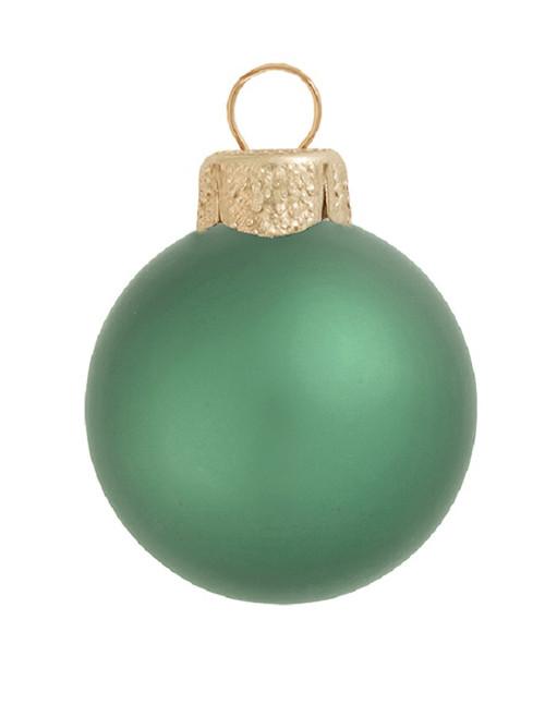 "28ct Matte Soft Green Glass Ball Christmas Ornaments 2"" (50mm) - 30939573"