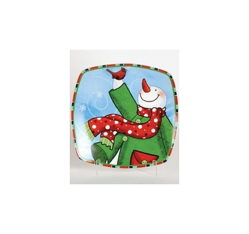 "12"" Snow Drift Multi-Color Snowman Square Porcelain Christmas Dining Plate - 30852713"