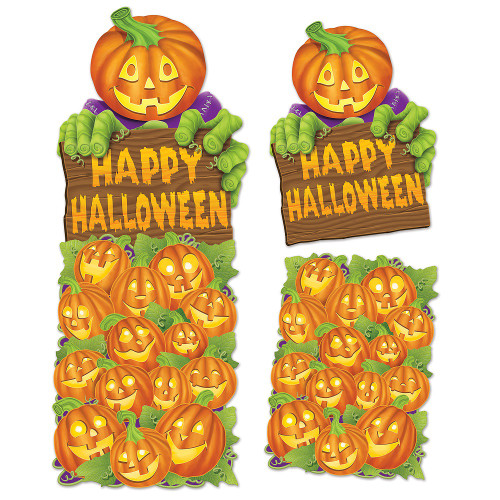 """Club Pack of 24 Green and Orange Jumbo Pumpkin Patch Cutout Decorations 24"""" - 31559984"""