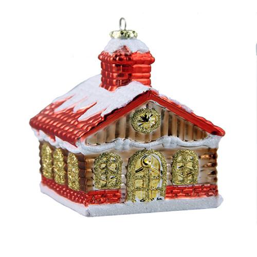 "3.5"" Glitter Snow-covered Log Cabin Shatterproof Christmas Ornament - 30889467"